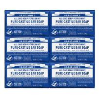 Dr. Bronner's - Pure-Castile Bar Soap (Peppermint, 5 oz, 6-Pack) - Made with Organic Oils, For Face, Body & Hair, Gentle & Moisturizing, Biodegradable, Vegan, Cruelty-free, Non-GMO