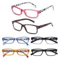 Reading Glasses Blue Light Blocking Readers for Women Men, 6-Pack Fashion Computer Readers Anti UV Ray/Eye Strain/Glare
