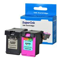 SuperInk Replacement Compatible for HP 62 62XL C2P05AN C2P07AN Ink Cartridge Remanufactured High Yield Use in Envy 7643 7644 7645 8000 8005 Officejet 5743 5744 8045 Printer (1 Black, 1 Tri-Color)