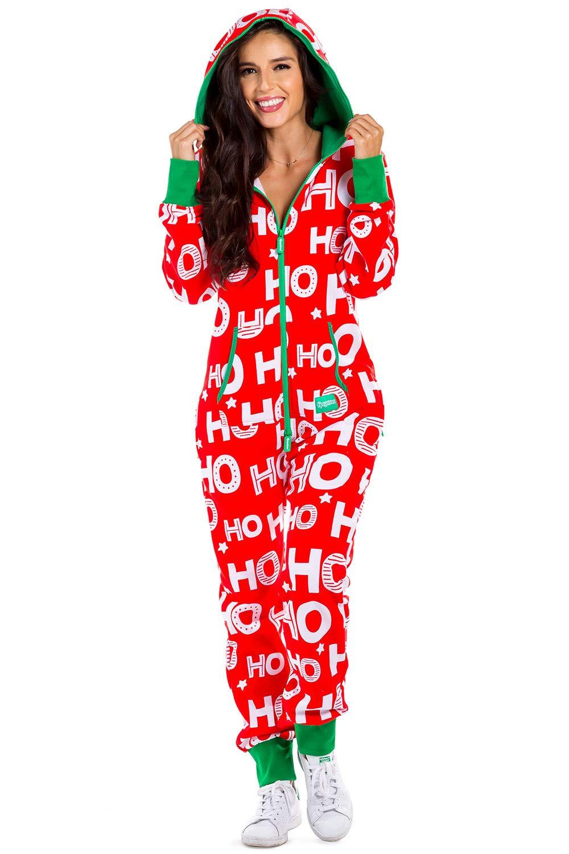 Women's Cozy Christmas Onesie Pajamas - Red HoHoHo Santa Adult Cozy Jumpsuit