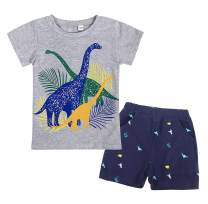 Cotrio Boys Two Piece Pants Set Infant Baby Boy Clothes Sets Toddler Kids T-Shirt and Shorts