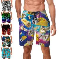 Freshhoodies Mens Hawaiian Swim Trunks Coconut Palm Tree Beach Board Shorts with Mesh Lining Swimwear Bathing Suits