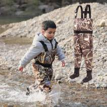 NEYGU Toddler & Children's Breathable Waterproof Waders Bootfoot Chest Waders,Kids Wader with Boots