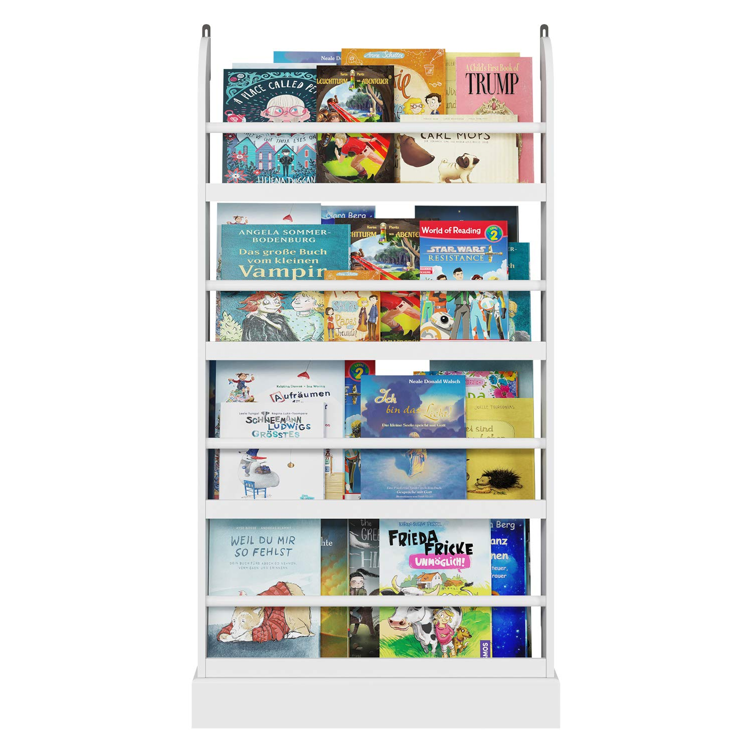 """Homfa Kids Bookshelf, 4 Tier Children's Bookcase Rack Free Standing Against The Wall, Organizer Holder Stand for Books Toys in Study Living Room Bedroom, 23.62""""L x 4.7""""W x 42.7""""H, White"""