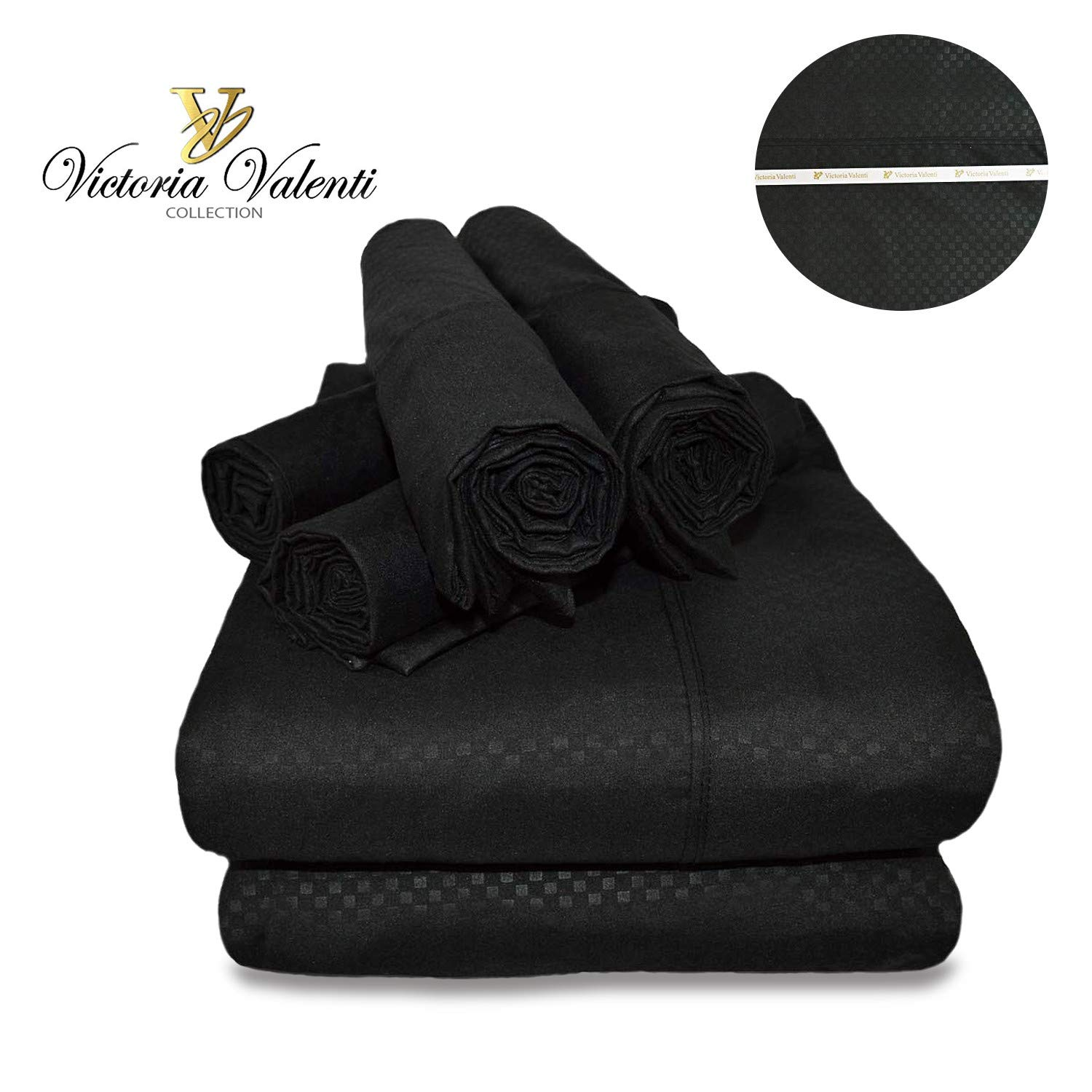 Victoria Valenti Embossed Sheet Set with 4 Pillow Cases, Double Brushed and Ultra Soft with Deep Pockets for Extra Deep Mattress, Microfiber, Hypoallergenic King Black