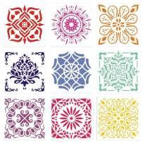Painting-Stencils,Sosanping Drawing-Mandala-Template Reusable-Laser-Cut-Painting-Stencil for DIY-Decor, Wood, Airbrush, Rocks,Floor and Walls Art 9 Pack(6''x6'')