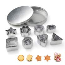 Cookie Cutters, Arozk 24 PCS Mini Geometric Shaped Heart Star Flower Hexagon Round Square Triangle Oval Stainless Steel Baking Molds Decorating Tool for Pastries Dough Fruit Fondant Clay