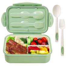 Bento Boxes for Adults Lunch Containers for Kids Bento Lunch Box 3 Compartments Microwave Safe(Flatware Included,Green)