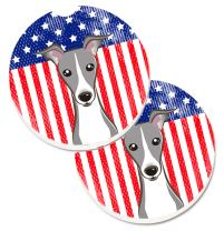 Caroline's Treasures BB2166CARC American Flag and Italian Greyhound Set of 2 Cup Holder Car Coasters, Large, multicolor