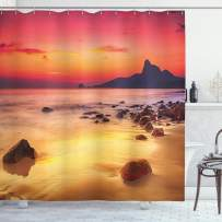 """Ambesonne Ocean Shower Curtain, Digital Photo of Mystical Sunrise Over The Sea with Stones and Cliffs Idyllic Spot, Cloth Fabric Bathroom Decor Set with Hooks, 70"""" Long, Orange Yellow"""