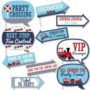 Funny Railroad Party Crossing - Steam Train Birthday Party or Baby Shower Photo Booth Props Kit - 10 Piece