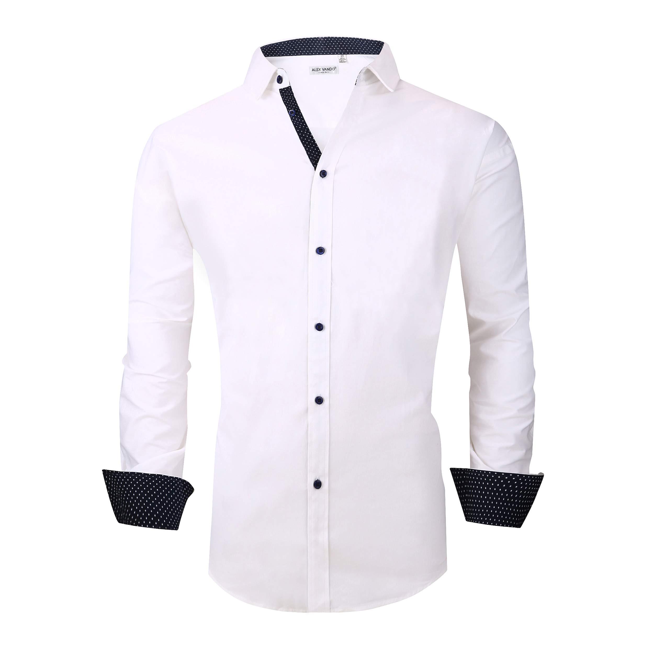 Alex Vando Mens Big & Tall Dress Shirts Regular Fit Long Sleeve Men Shirt