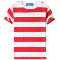 SSLR Big Boy's Cotton Crewneck Casual Short Sleeve Stripe T-Shirt