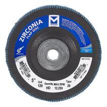 "Mercer Industries 336H120 Zirconia Flap Disc, High Density, Type 29, 5"" x 5/8""-11, Grit 120, 10 Pack"