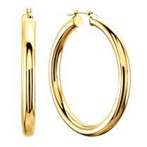 14K Yellow Gold 3MM Shiny Round Tube Hoop Earrings