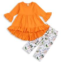 Baby Girl Clothes Set Ruffle Outfits Long Sleeve Shirt Tops+Floral Pants Fall Winter Clothing for Girls 1-4T