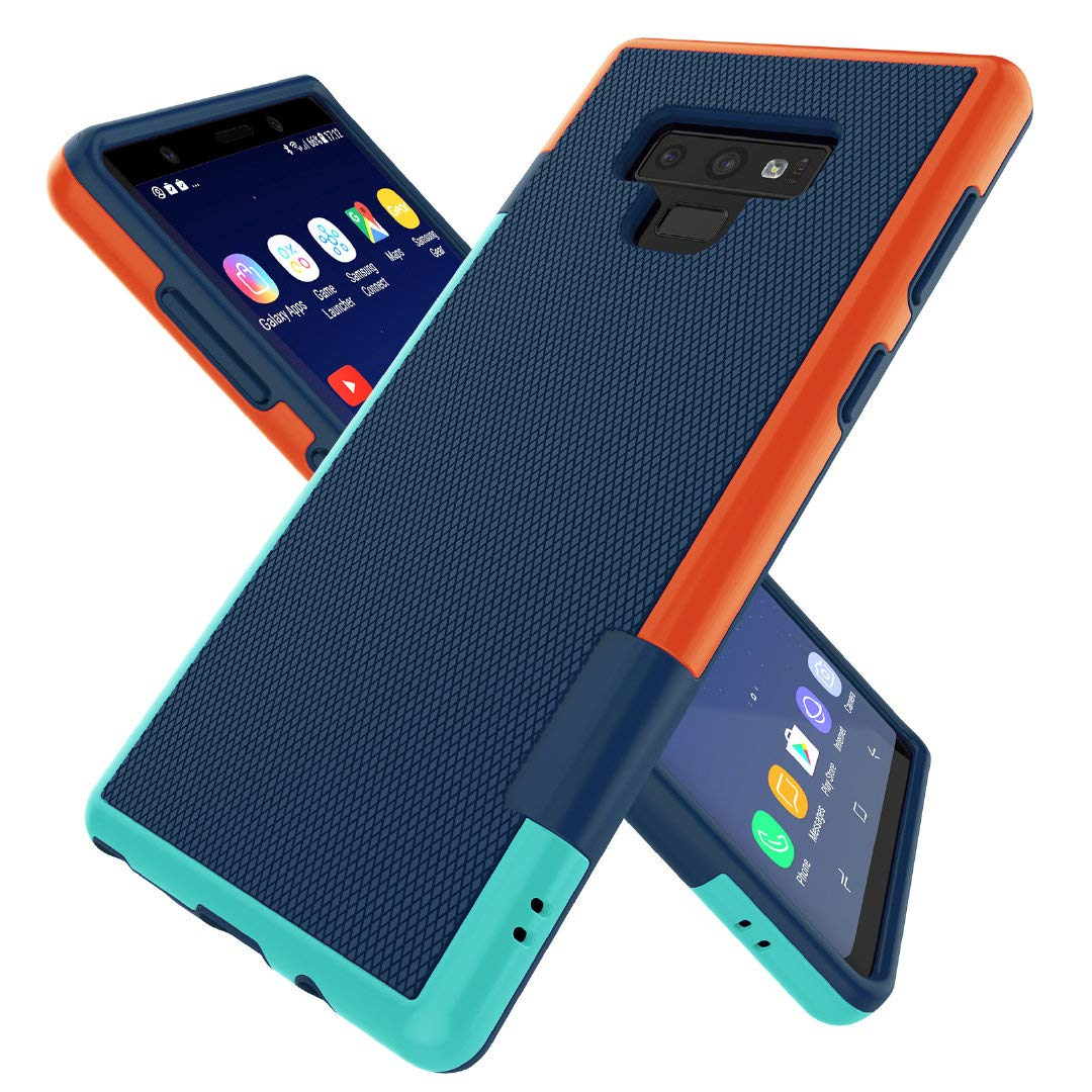 Galaxy Note 9 Case, Zectoo Hybrid 3 Color Note 9 Case Shockproof TPU Bumper Cases Non Slip Scratch Resistant PC Hard Back Protective Case Cover for Galaxy Note 9 (6.4 inch) - Blue