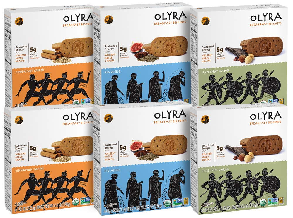 Olyra: Organic Multipack Breakfast Biscuits - Non-GMO - All Natural Ingredients - Made With Ancient Greek Whole Grains - Sustain Energy Levels - Plant Based - 6 Boxes (24 Packs, 3 Biscuits/Pack)
