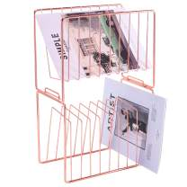 Nugorise File Sorter, 2 Tier Stackable Magazine Holder, Metal Desk Organizer Rack for Letter, Document, Folder, Book and More, Rose Gold
