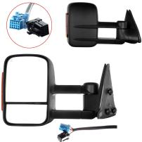 OCPTY Towing Mirrors Tow Mirrors Compatible with 2003-2006 Chevy Silverado 1500/2500 HD/3500/Tahoe GMC Sierra 1500/2500 HD/3500/Yukon XL with Black Turn Signal Power Heated Manual Folding