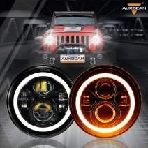 "Auxbeam 7 Inch LED Headlights for Jeep Wrangler JK, TJ, LJ, CJ, Hi/Lo Beam 7"" Headlamps for Rubicon Sport, Sahara, Hummer H1 & H2 (7"" Headlights w/ DRL & Amber Turn Signal Light, Black)"