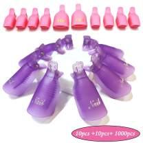 Jiulory Nail Polish Remover Clips Set 20 for nail & toe + 1000 PCS Soak Off Nail Gel Polish Remover Clip Caps 1000 PCS Lintfree Nail Wipes Cotton Pads Wraps for UV Gel Acrylic Nail Polish Removal
