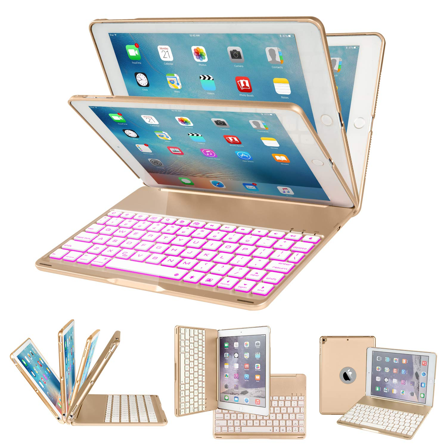 IEGROW iPad Keyboard Case for iPad 6th Gen (2018)- iPad 5th Gen (2017)- iPad Pro 9.7- iPad Air- iPad Air 2-135 Degree Rotation- 7 Color Backlits- Wireless Bluetooth Cover with Keyboard (Gold-F8AS)