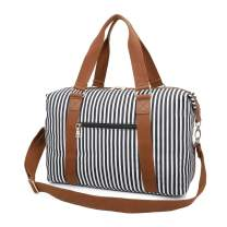 Gimay Carry on Bag Tote Duffel Bag Overnight Weekender Bag Travel Bags for Women (Black Stripe)