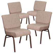 Flash Furniture 4 Pk. HERCULES Series 21''W Stacking Church Chair in Beige Fabric - Copper Vein Frame