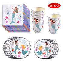 Amycute 68 Pcs Mermaid Disposable Tableware Set, Mermaid Theme Party Decorations,Plates Cups NapkinsCutlery,Wedding Baby Showers Birthday Party Supplies Decorations