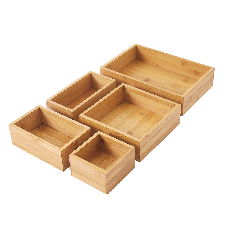 STRPRETTY BASIC Bamboo Storage Box & Organizer Set. Multi-Sized Set of 5-100% eco-Friendly Bamboo Boxes- Perfect Size for Office