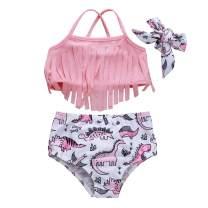 Amberetech 3pcs Toddler Baby Girls Swimwear Cute Watermelon Bikini Set Swimsuit Beachwear Outfits