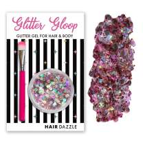 Chunky Holographic GLITTER Gel Hair & Body - UNICORN PINK - Christmas Party Hair Accessories - Gifts Sets for Girls, Mess Free, Vegan, Safe for Kids - No Glue Required - Includes Brush - Easy to use