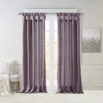 Madison Park Emilia Faux Silk Curtain with Privacy Lining, DIY Twist Tab Top, Window Drapes for Living Room, Bedroom and Dorm, 50x120, Purple