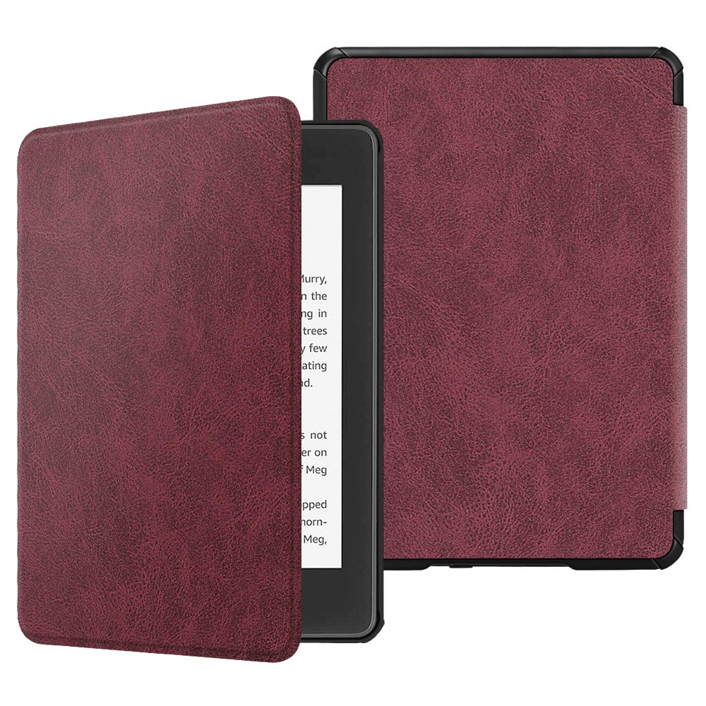 Fintie Slimshell Case for All-New Kindle Paperwhite (10th Generation, 2018 Release) - Premium Lightweight PU Leather Cover with Auto Sleep/Wake for Amazon Kindle Paperwhite E-Reader, Rustic Burgundy
