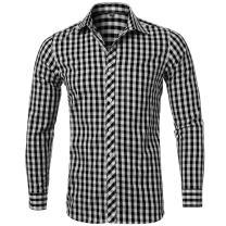 "Men's Plaid Shirt, 100% Cotton Slim Fit Casual Botton Down Shirts Long Sleeve Dress Shirts, Black Shirts,15""Neck 33""Sleeve, Tag 39"
