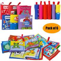 Here Fashion Pack of 6 Cloth Book for Baby - Soft Activity Books for Toddler, Infant - Let's Learn Together, Squeak Rattle Early Education Toys, Touch and Feel Crinkle Book, Shower Gift for Baby