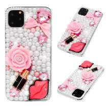 iPhone 11 Pro Max Case, Mavis's Diary 3D Handmade Luxury Bling Sexy Red Lips Lipstick Pink Bow Love Heart Rose Flower Floral Shiny Crystal Diamond Glitter Rhinestones Gems Clear Hard PC Cover