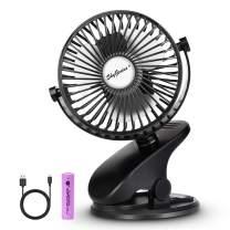 SkyGenius Battery Operated Clip On Baby Stroller Fan (Black)