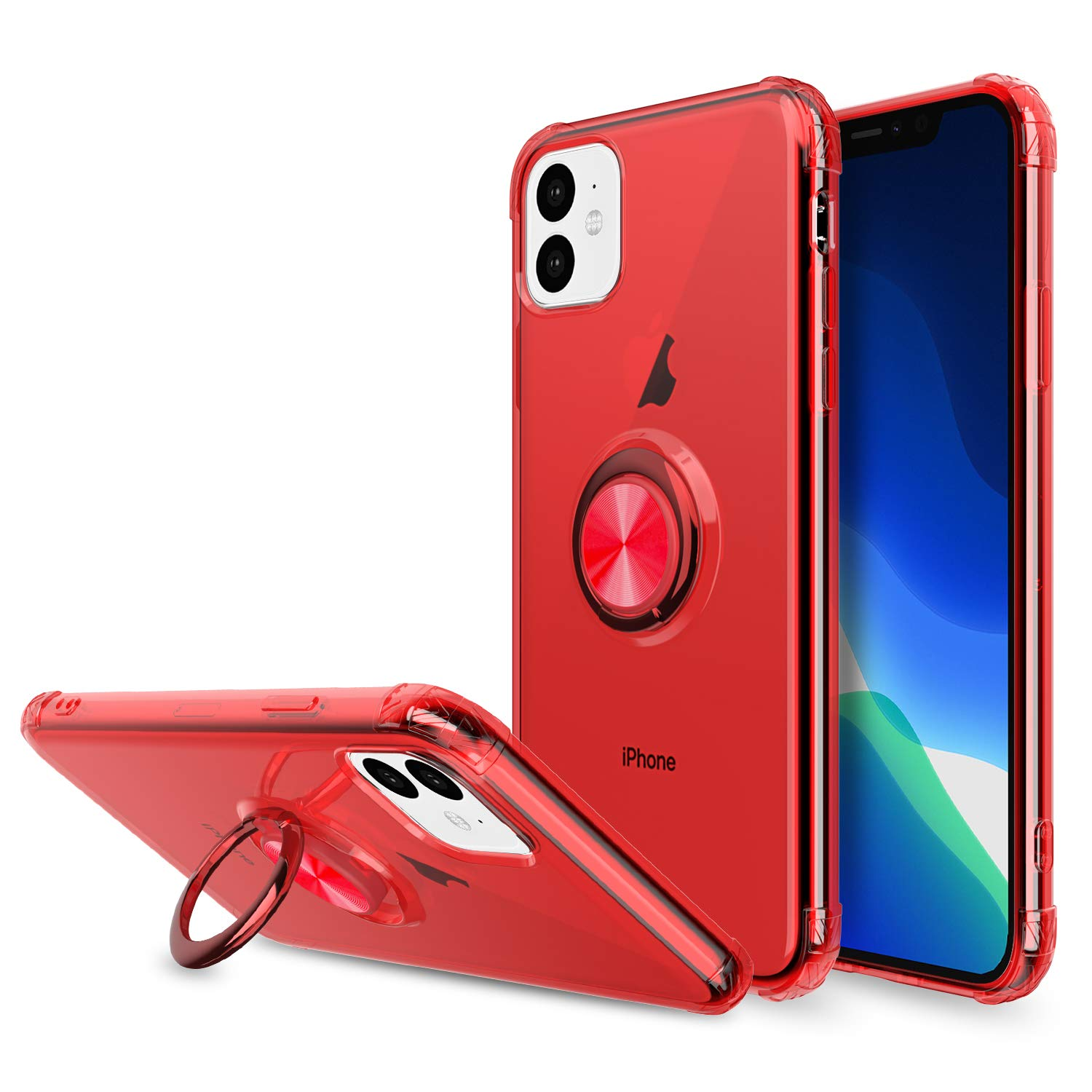 Elegant Choise Compatible iPhone 11 6.1 inch Case, Hybrid Clear Ultra Thin Ring Holder Kickstand Rugged Shockproof Anti-Scratch Armor Drop Protective Cover Compatible Magnetic Car Mount(Red)