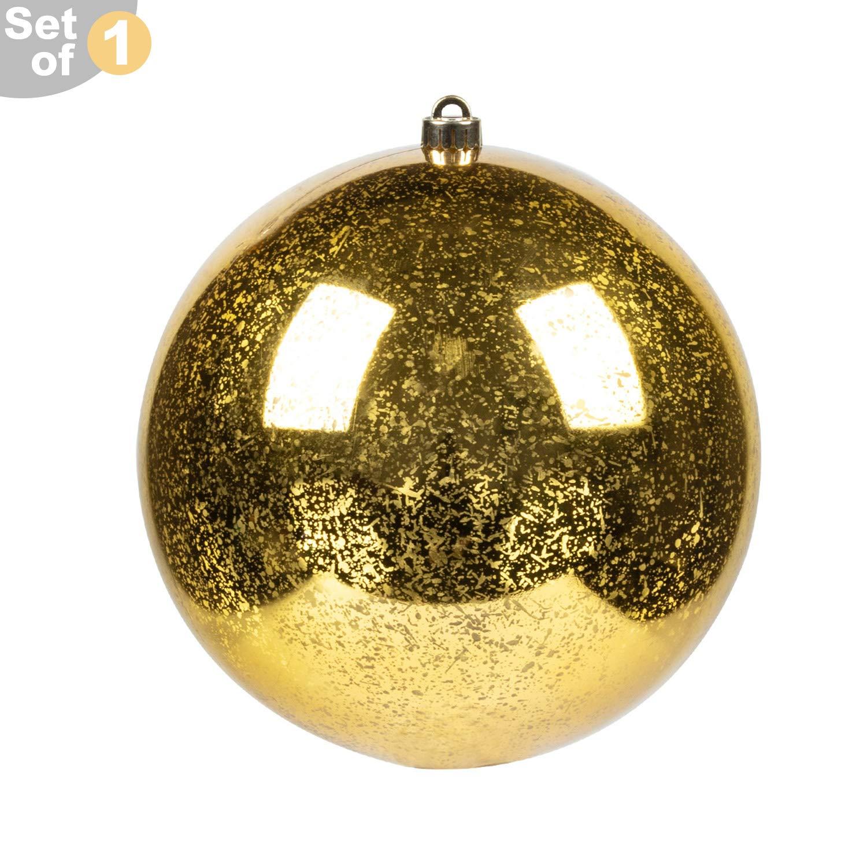 "KI Store Oversized Christmas Ball Ornament Gold 8-Inch Huge Decorative Hanging Mercury Ball 8"" Shatterproof Vintage for Xmas Decoration Set of 1"