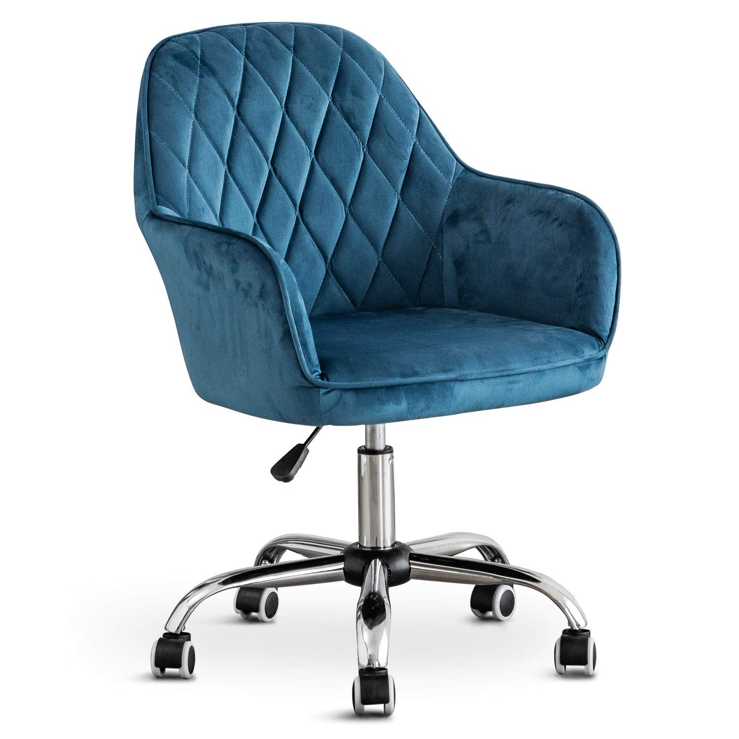 Home Office Swivel Velvet Chair Computer Chair, Ergonomic Mid-Back Comfortable Executive Accent Chair with Arms for Living Room, Bedroom, Adjustable Height for Study Room, Bedroom and Vanity (Blue)