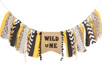 HighChair Banner for 1st Birthday - First Birthday Decorations for Photo Booth Props, Birthday Souvenir and Gifts for Kids, Best Party Supplies (Wild One)