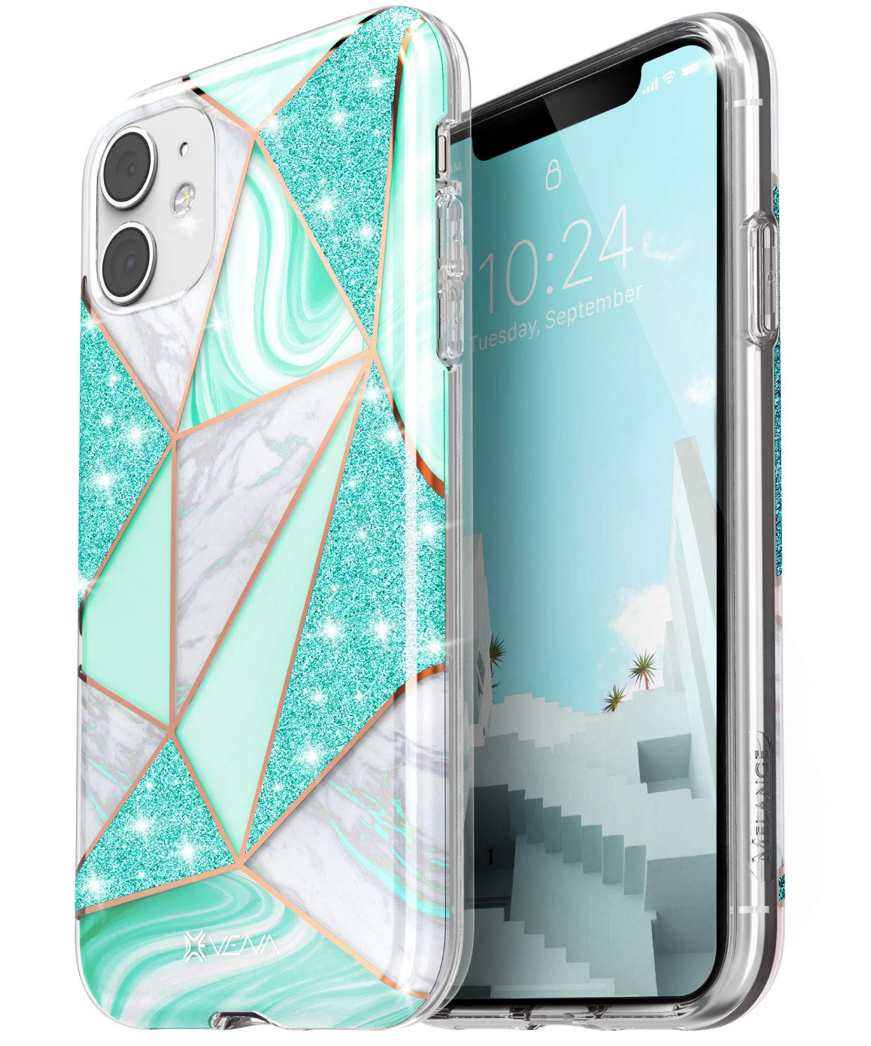 Vena iPhone 11 Marble Glitter Case, Melange Glitter Marble Bumper Protective Case, Designed for iPhone 11 (6.1 inches) - Marble Teal