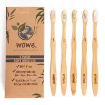 Wowe Natural Organic Bamboo Toothbrush Eco-Friendly Wood, Soft BPA Free Bristles, Pack of 5