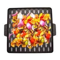EJOYWAY Grill Pan, Nonstick Grill Topper Grill Grid Fireproof Thickened Grill Basket Professional Camping Grill Cookware Outdoor BBQ Grill Accessory for Grilling Vegetable, Fish, Shrimp, Meat
