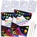 Max Fun 2Pack Rainbow Magic Scratch Art Notebook Set for Kids Crafts Large Painting Paper Boards Book Black Colorful with 4 Drawing Stencils (Size: 10.23 x 7.48'')