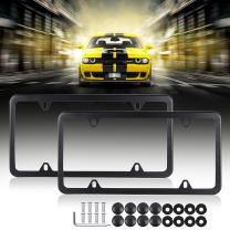Licenses Plate Covers Aluminum License Plates Frames with Screw Caps 2 Pcs 4 Holes Black Powder Coated Plate Cover Frame Shield Combo