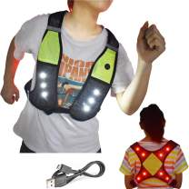 Machine Washable Reflective Running Vest with LED Lights USB Rechargeable Safety Gear with Adjustable Waist Phone Pocket, High Visibility Light Up Flashing Vest Gifts for Men Women Kids Runners Walker