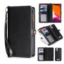 KelaSip iPhone 11 Pro Max Wallet Case, Leather Wallet Phone Case & Card Holder Buckle Magnetic Detachable,Black,for iPhone 11 Pro Max